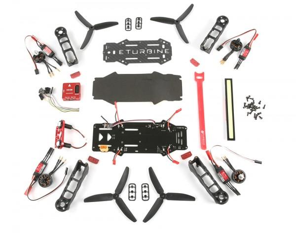 ETurbine RaceCopter FPV Racer 250 Combo Kit mit Motor, Regler, CC3D und LED
